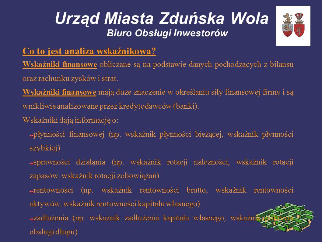 Urząd Miasta Zduńska Wola Biuro Obsługi Inwestorów Co to jest analiza wskaźnikowa? Wskaźniki finansowe obliczane są na podstawie danych pochodzących z