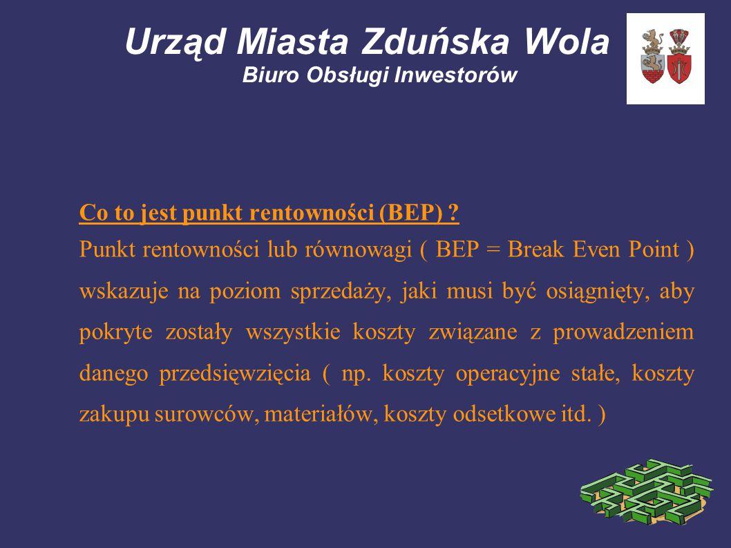 Urząd Miasta Zduńska Wola Biuro Obsługi Inwestorów Co to jest punkt rentowności (BEP) ? Punkt rentowności lub równowagi ( BEP = Break Even Point ) wsk