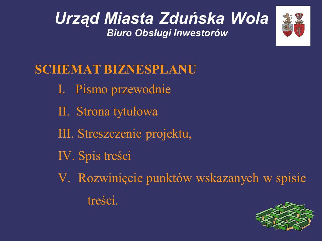 Urząd Miasta Zduńska Wola Biuro Obsługi Inwestorów SCHEMAT BIZNESPLANU I. Pismo przewodnie II. Strona tytułowa III. Streszczenie projektu, IV. Spis tr
