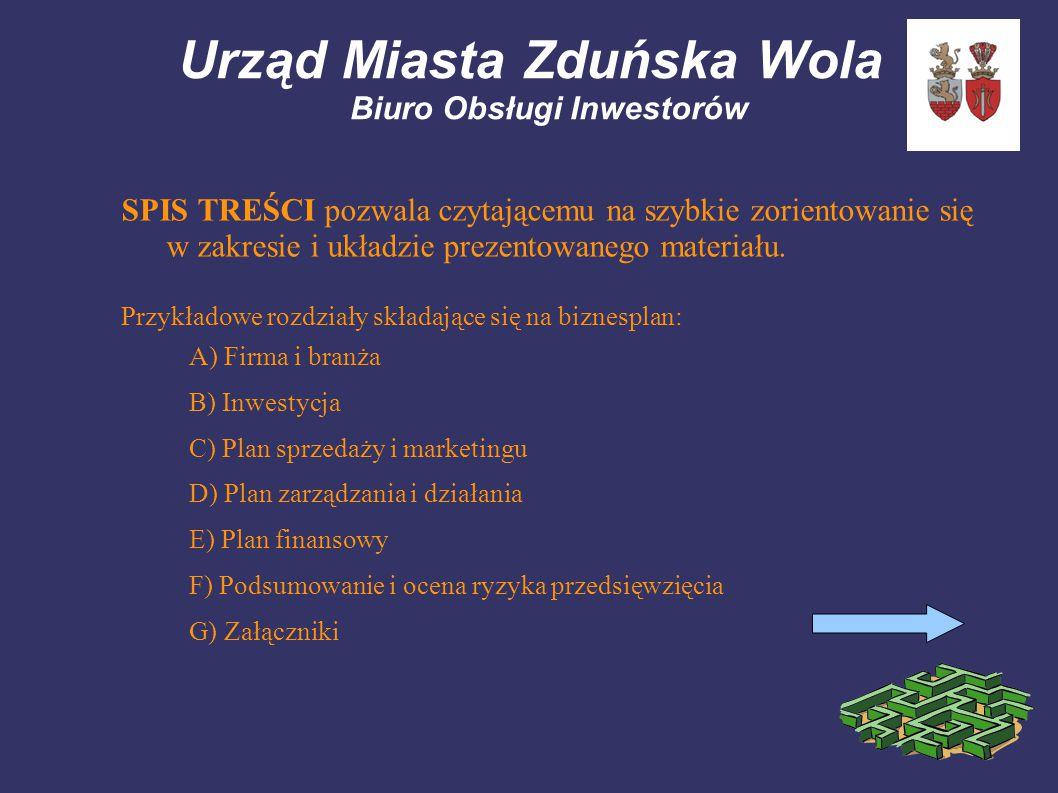 Urząd Miasta Zduńska Wola Biuro Obsługi Inwestorów SPIS TREŚCI pozwala czytającemu na szybkie zorientowanie się w zakresie i układzie prezentowanego materiału.