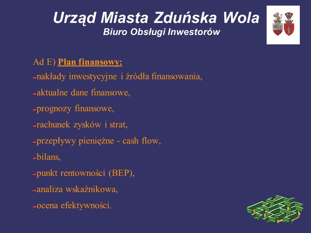 Urząd Miasta Zduńska Wola Biuro Obsługi Inwestorów Ad E) Plan finansowy: nakłady inwestycyjne i źródła finansowania, aktualne dane finansowe, prognozy