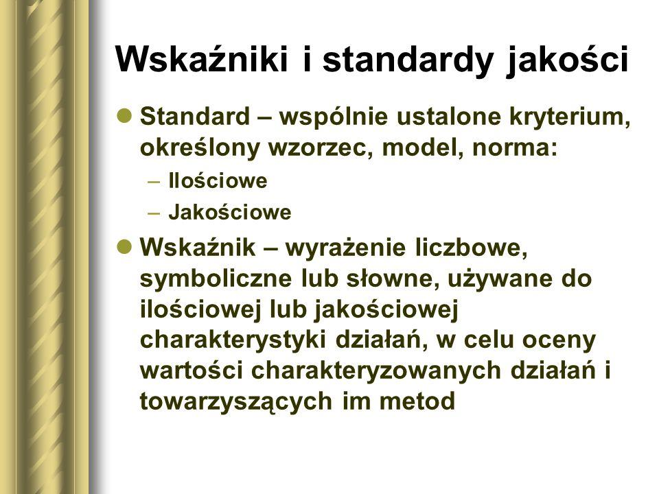 Wskaźniki i standardy jakości Standard – wspólnie ustalone kryterium, określony wzorzec, model, norma: –Ilościowe –Jakościowe Wskaźnik – wyrażenie lic