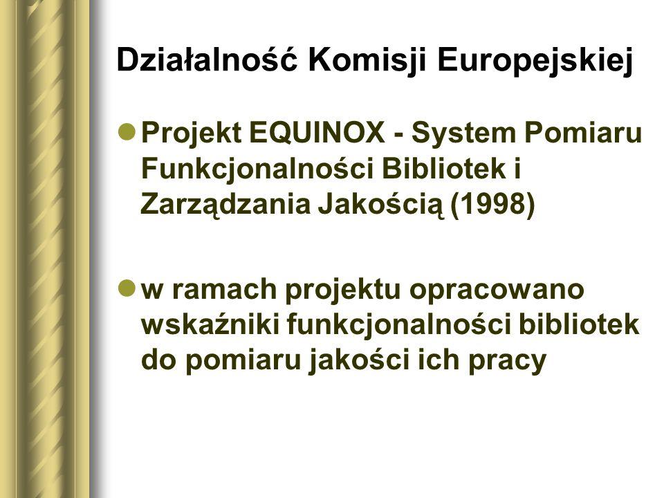 Działalność Komisji Europejskiej Projekt EQUINOX - System Pomiaru Funkcjonalności Bibliotek i Zarządzania Jakością (1998) w ramach projektu opracowano