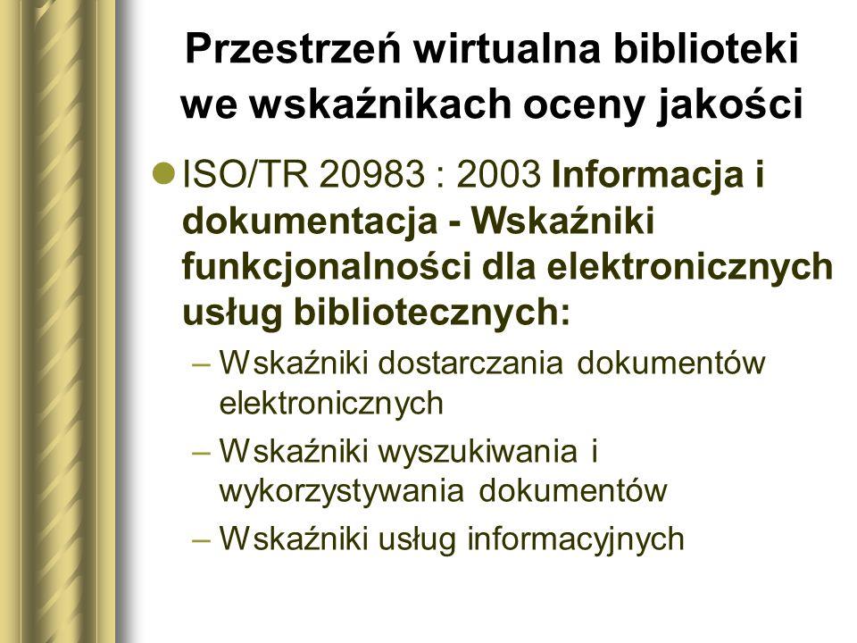 Przestrzeń wirtualna biblioteki we wskaźnikach oceny jakości ISO/TR 20983 : 2003 Informacja i dokumentacja - Wskaźniki funkcjonalności dla elektronicz