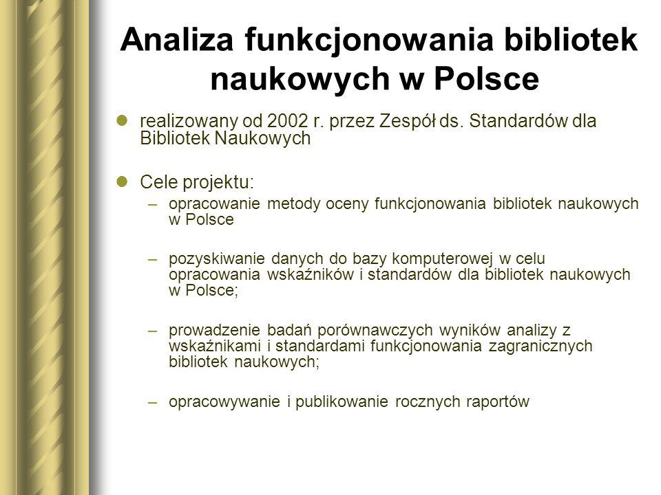 Analiza funkcjonowania bibliotek naukowych w Polsce realizowany od 2002 r. przez Zespół ds. Standardów dla Bibliotek Naukowych Cele projektu: –opracow