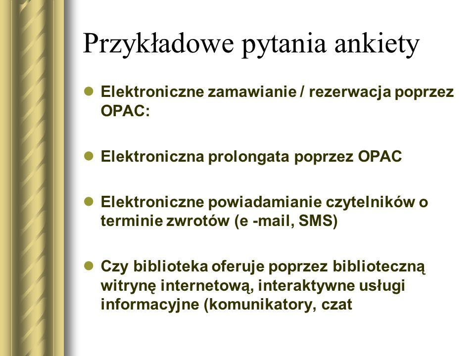 Przykładowe pytania ankiety Elektroniczne zamawianie / rezerwacja poprzez OPAC: Elektroniczna prolongata poprzez OPAC Elektroniczne powiadamianie czyt