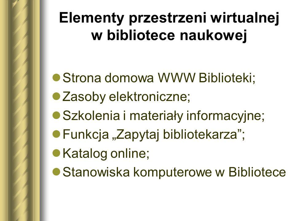 Elementy przestrzeni wirtualnej w bibliotece naukowej Strona domowa WWW Biblioteki; Zasoby elektroniczne; Szkolenia i materiały informacyjne; Funkcja