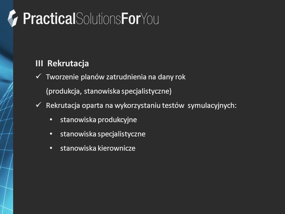 III Rekrutacja Tworzenie planów zatrudnienia na dany rok (produkcja, stanowiska specjalistyczne) Rekrutacja oparta na wykorzystaniu testów symulacyjny