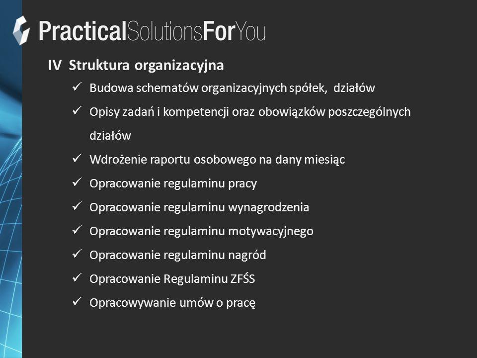 IV Struktura organizacyjna Budowa schematów organizacyjnych spółek, działów Opisy zadań i kompetencji oraz obowiązków poszczególnych działów Wdrożenie