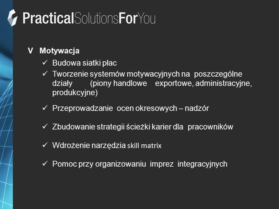 V Motywacja Budowa siatki płac Tworzenie systemów motywacyjnych na poszczególne działy (piony handlowe exportowe, administracyjne, produkcyjne) Przepr