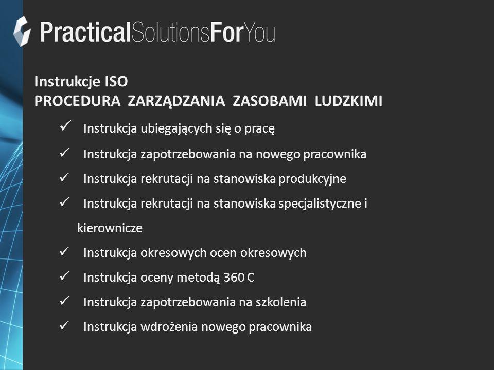 Instrukcje ISO PROCEDURA ZARZĄDZANIA ZASOBAMI LUDZKIMI Instrukcja ubiegających się o pracę Instrukcja zapotrzebowania na nowego pracownika Instrukcja