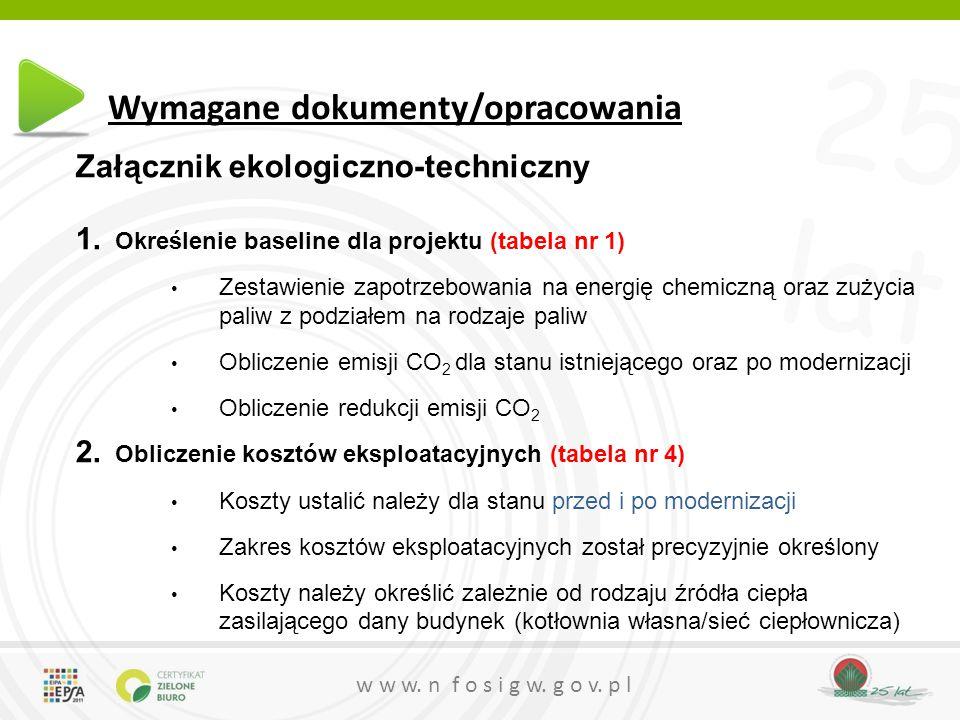 25 lat w w w. n f o s i g w. g o v. p l Wymagane dokumenty/opracowania Załącznik ekologiczno-techniczny 1. Określenie baseline dla projektu (tabela nr