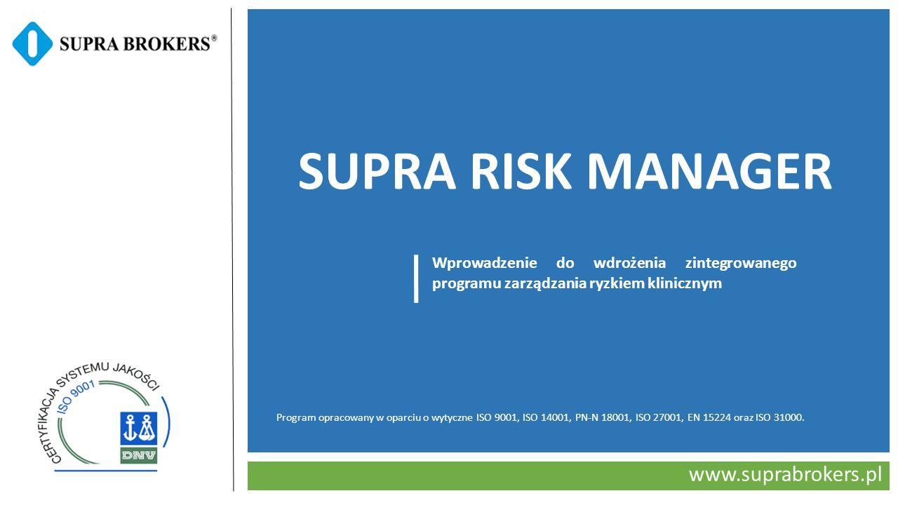 www.suprabrokers.pl SUPRA RISK MANAGER Wprowadzenie do wdrożenia zintegrowanego programu zarządzania ryzkiem klinicznym Program opracowany w oparciu o wytyczne ISO 9001, ISO 14001, PN-N 18001, ISO 27001, EN 15224 oraz ISO 31000.