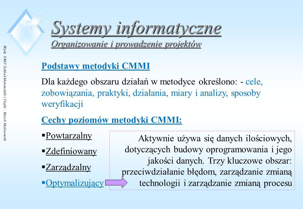 Wydz. BMiP Zakład Matematyki i Fizyki - Marek Malinowski Systemy informatyczne Organizowanie i prowadzenie projektów Podstawy metodyki CMMI Dla każdeg