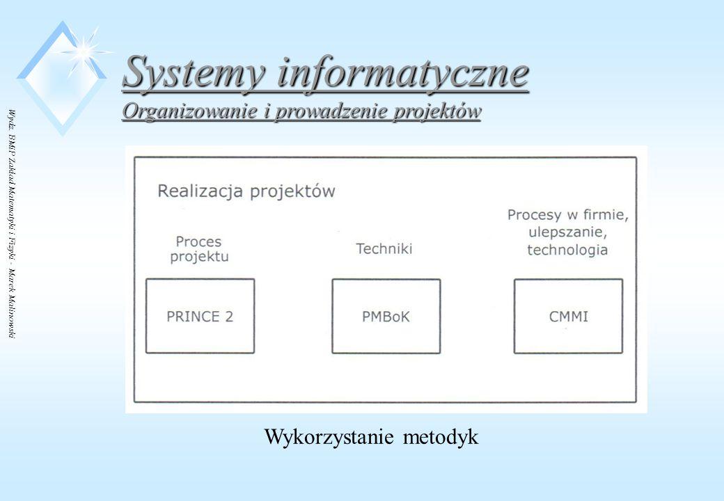 Wydz. BMiP Zakład Matematyki i Fizyki - Marek Malinowski Systemy informatyczne Organizowanie i prowadzenie projektów Wykorzystanie metodyk
