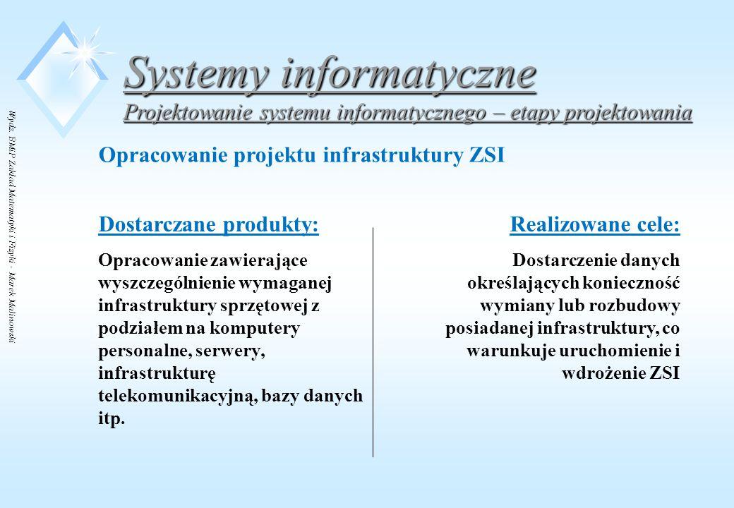 Wydz. BMiP Zakład Matematyki i Fizyki - Marek Malinowski Systemy informatyczne Projektowanie systemu informatycznego – etapy projektowania Opracowanie