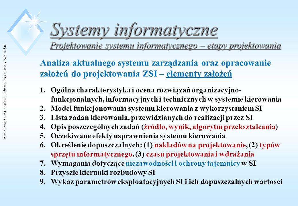 Wydz. BMiP Zakład Matematyki i Fizyki - Marek Malinowski Systemy informatyczne Projektowanie systemu informatycznego – etapy projektowania Analiza akt