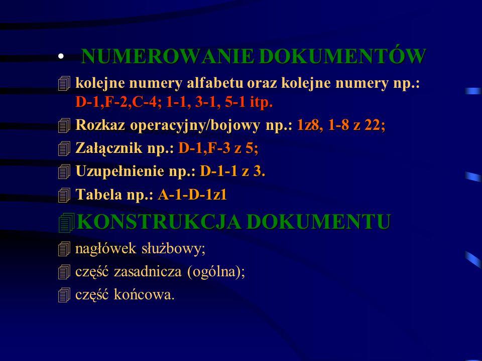 NUMEROWANIE DOKUMENTÓW D-1,F-2,C-4; 1-1, 3-1, 5-1 itp. 4kolejne numery alfabetu oraz kolejne numery np.: D-1,F-2,C-4; 1-1, 3-1, 5-1 itp. 4Rozkaz opera