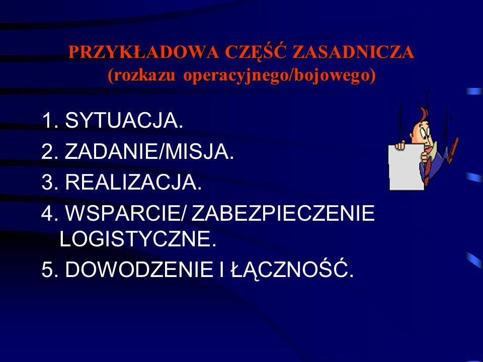PRZYKŁADOWA CZĘŚĆ ZASADNICZA (rozkazu operacyjnego/bojowego) 1. SYTUACJA. 2. ZADANIE/MISJA. 3. REALIZACJA. 4. WSPARCIE/ ZABEZPIECZENIE LOGISTYCZNE. 5.