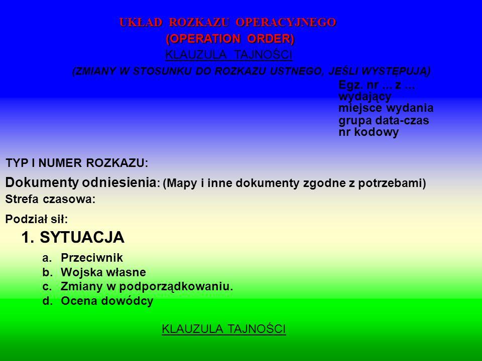TYP I NUMER ROZKAZU: Dokumenty odniesienia : (Mapy i inne dokumenty zgodne z potrzebami) Strefa czasowa: Podział sił: 1.SYTUACJA a.Przeciwnik b.Wojska