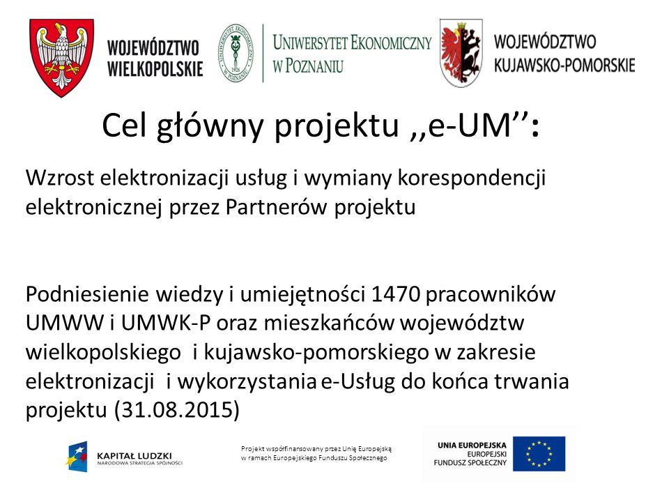 Wzrost elektronizacji usług i wymiany korespondencji elektronicznej przez Partnerów projektu Podniesienie wiedzy i umiejętności 1470 pracowników UMWW i UMWK-P oraz mieszkańców województw wielkopolskiego i kujawsko-pomorskiego w zakresie elektronizacji i wykorzystania e-Usług do końca trwania projektu (31.08.2015) Cel główny projektu,,e-UM'': Projekt współfinansowany przez Unię Europejską w ramach Europejskiego Funduszu Społecznego