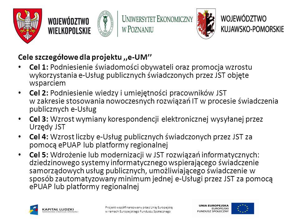 Projekt współfinansowany przez Unię Europejską w ramach Europejskiego Funduszu Społecznego Cele szczegółowe dla projektu,,e-UM'' Cel 1: Podniesienie świadomości obywateli oraz promocja wzrostu wykorzystania e-Usług publicznych świadczonych przez JST objęte wsparciem Cel 2: Podniesienie wiedzy i umiejętności pracowników JST w zakresie stosowania nowoczesnych rozwiązań IT w procesie świadczenia publicznych e-Usług Cel 3: Wzrost wymiany korespondencji elektronicznej wysyłanej przez Urzędy JST Cel 4: Wzrost liczby e-Usług publicznych świadczonych przez JST za pomocą ePUAP lub platformy regionalnej Cel 5: Wdrożenie lub modernizacji w JST rozwiązań informatycznych: dziedzinowego systemy informatycznego wspierającego świadczenie samorządowych usług publicznych, umożliwiającego świadczenie w sposób zautomatyzowany minimum jednej e-Usługi przez JST za pomocą ePUAP lub platformy regionalnej