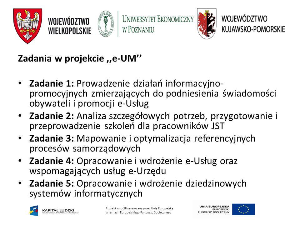 Projekt współfinansowany przez Unię Europejską w ramach Europejskiego Funduszu Społecznego Zadania w projekcie,,e-UM'' Zadanie 1: Prowadzenie działań informacyjno- promocyjnych zmierzających do podniesienia świadomości obywateli i promocji e-Usług Zadanie 2: Analiza szczegółowych potrzeb, przygotowanie i przeprowadzenie szkoleń dla pracowników JST Zadanie 3: Mapowanie i optymalizacja referencyjnych procesów samorządowych Zadanie 4: Opracowanie i wdrożenie e-Usług oraz wspomagających usług e-Urzędu Zadanie 5: Opracowanie i wdrożenie dziedzinowych systemów informatycznych