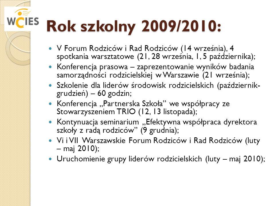 Rok szkolny 2009/2010: V Forum Rodziców i Rad Rodziców (14 września), 4 spotkania warsztatowe (21, 28 września, 1, 5 października); Konferencja prasow