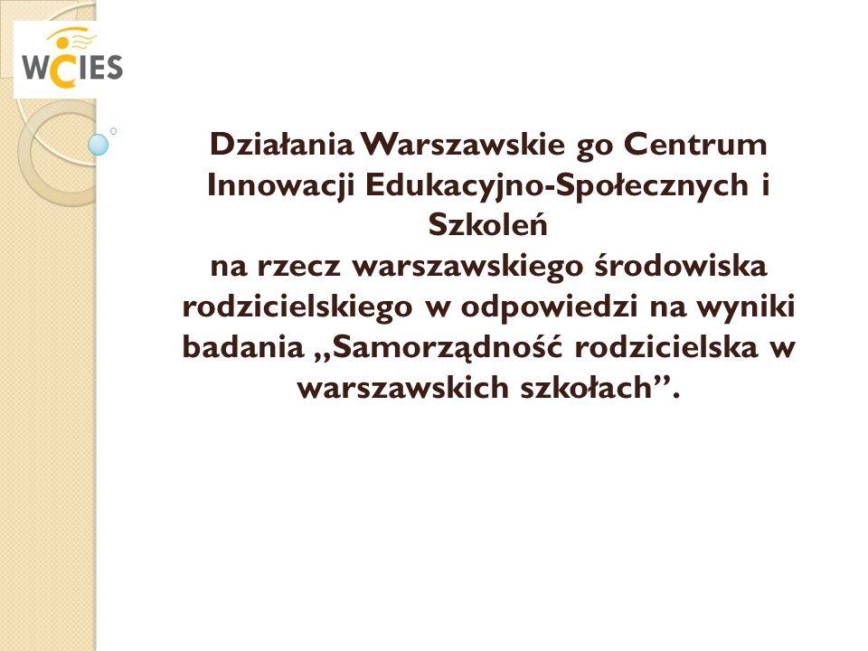 Działania Warszawskie go Centrum Innowacji Edukacyjno-Społecznych i Szkoleń na rzecz warszawskiego środowiska rodzicielskiego w odpowiedzi na wyniki b