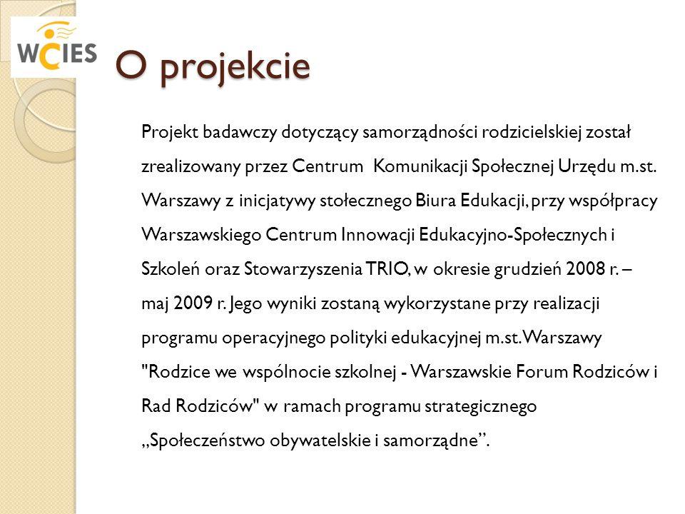 O projekcie Projekt badawczy dotyczący samorządności rodzicielskiej został zrealizowany przez Centrum Komunikacji Społecznej Urzędu m.st. Warszawy z i