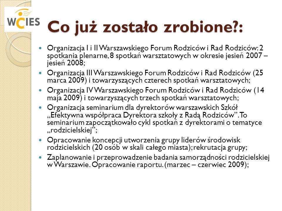 Co już zostało zrobione?: Organizacja I i II Warszawskiego Forum Rodziców i Rad Rodziców: 2 spotkania plenarne, 8 spotkań warsztatowych w okresie jesi