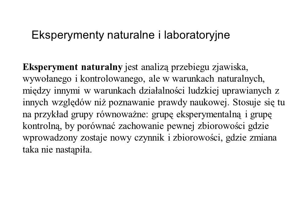 Eksperymenty naturalne i laboratoryjne Eksperyment naturalny jest analizą przebiegu zjawiska, wywołanego i kontrolowanego, ale w warunkach naturalnych