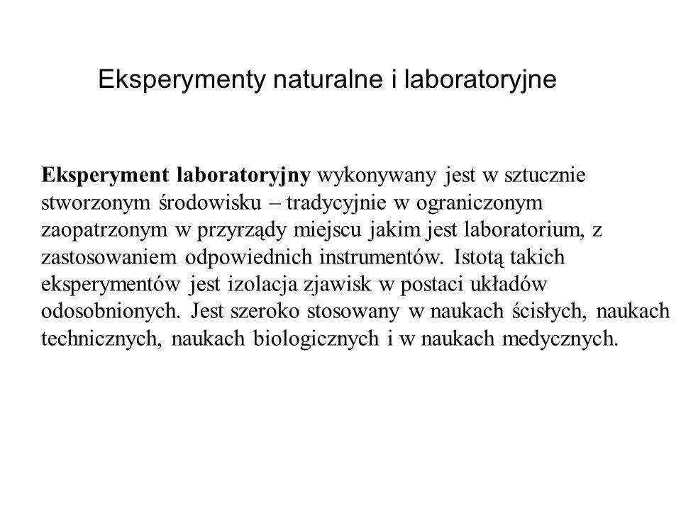 Eksperymenty naturalne i laboratoryjne Eksperyment laboratoryjny wykonywany jest w sztucznie stworzonym środowisku – tradycyjnie w ograniczonym zaopat