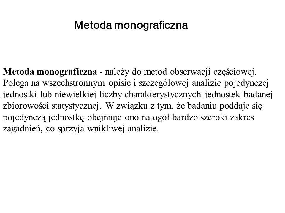 Metoda monograficzna - należy do metod obserwacji częściowej. Polega na wszechstronnym opisie i szczegółowej analizie pojedynczej jednostki lub niewie