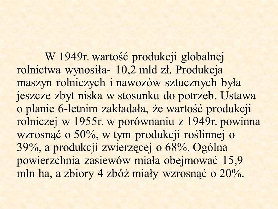 W 1949r. wartość produkcji globalnej rolnictwa wynosiła- 10,2 mld zł. Produkcja maszyn rolniczych i nawozów sztucznych była jeszcze zbyt niska w stosu