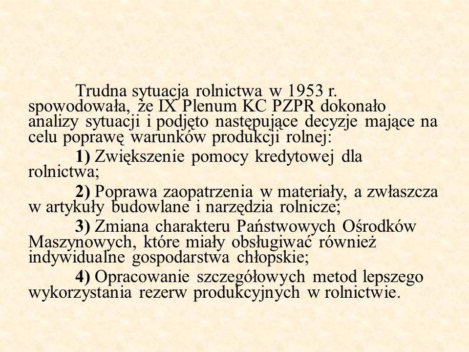 Trudna sytuacja rolnictwa w 1953 r. spowodowała, że IX Plenum KC PZPR dokonało analizy sytuacji i podjęto następujące decyzje mające na celu poprawę w