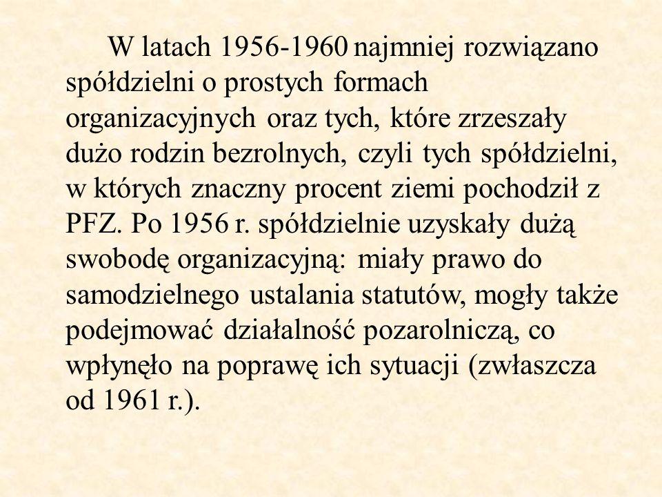 W latach 1956-1960 najmniej rozwiązano spółdzielni o prostych formach organizacyjnych oraz tych, które zrzeszały dużo rodzin bezrolnych, czyli tych sp