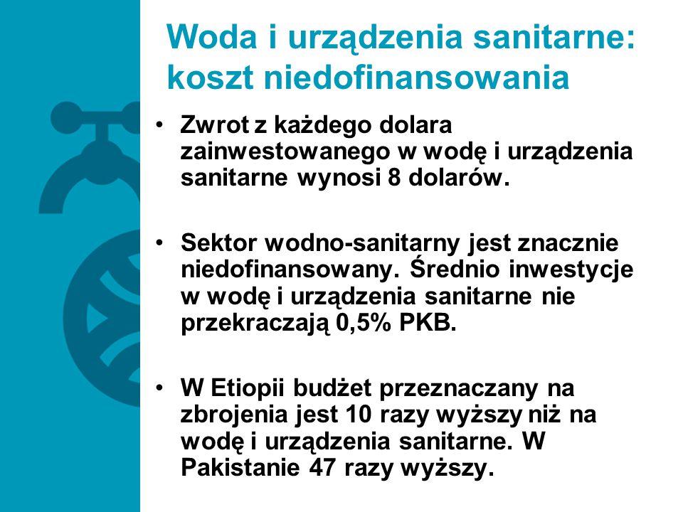 Zwrot z każdego dolara zainwestowanego w wodę i urządzenia sanitarne wynosi 8 dolarów. Sektor wodno-sanitarny jest znacznie niedofinansowany. Średnio