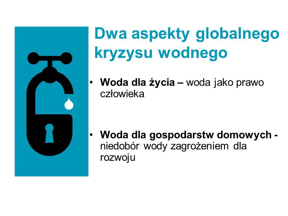 Woda dla życia – woda jako prawo człowieka Woda dla gospodarstw domowych - niedobór wody zagrożeniem dla rozwoju Dwa aspekty globalnego kryzysu wodneg