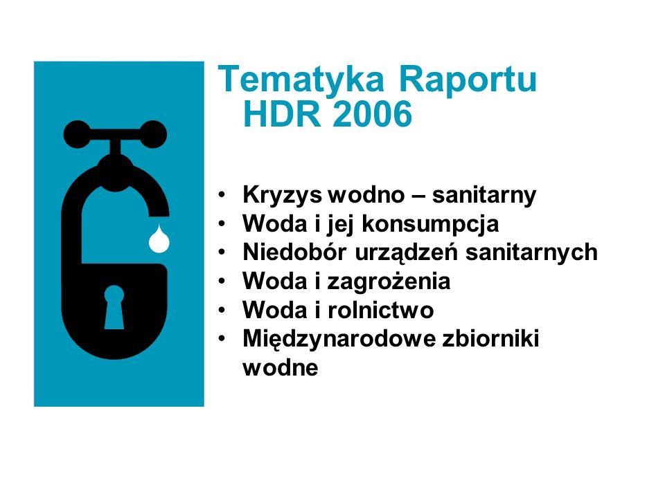 Tematyka Raportu HDR 2006 Kryzys wodno – sanitarny Woda i jej konsumpcja Niedobór urządzeń sanitarnych Woda i zagrożenia Woda i rolnictwo Międzynarodo