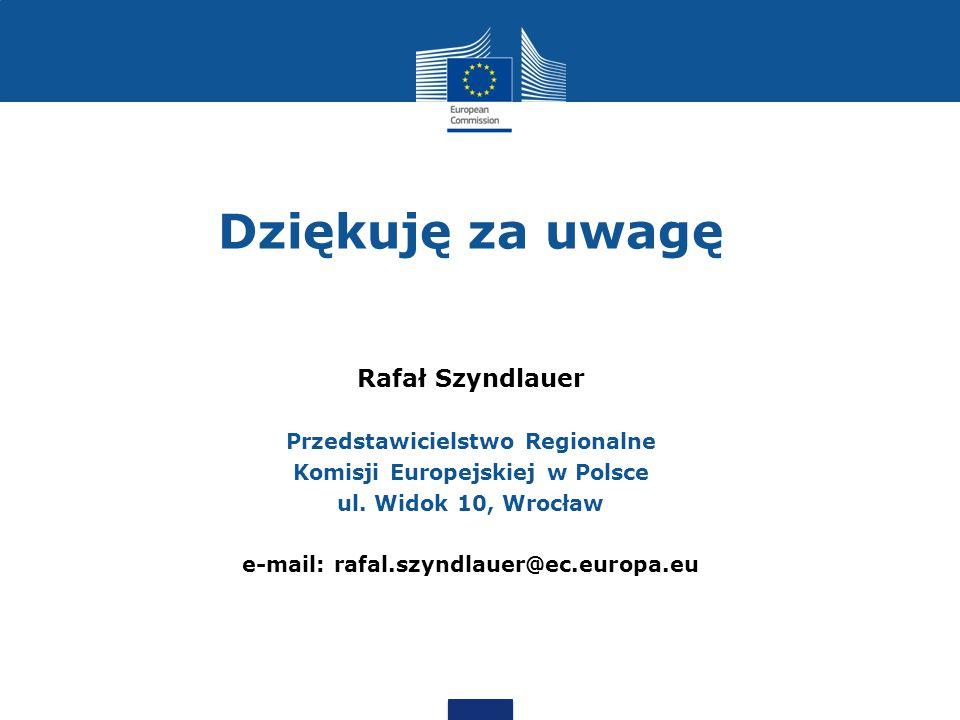 Dziękuję za uwagę Rafał Szyndlauer Przedstawicielstwo Regionalne Komisji Europejskiej w Polsce ul.