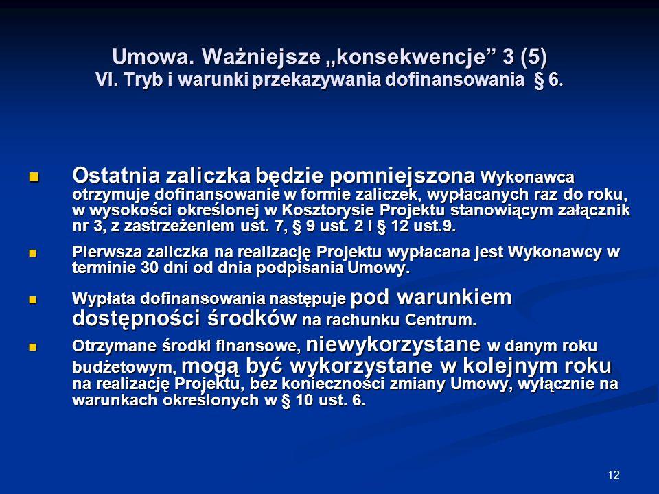 """12 Umowa. Ważniejsze """"konsekwencje 3 (5) VI. Tryb i warunki przekazywania dofinansowania § 6."""