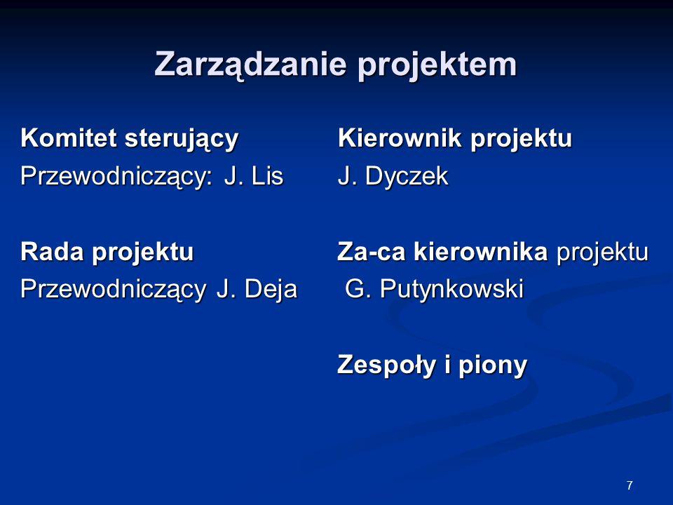 7 Zarządzanie projektem Komitet sterujący Przewodniczący: J.
