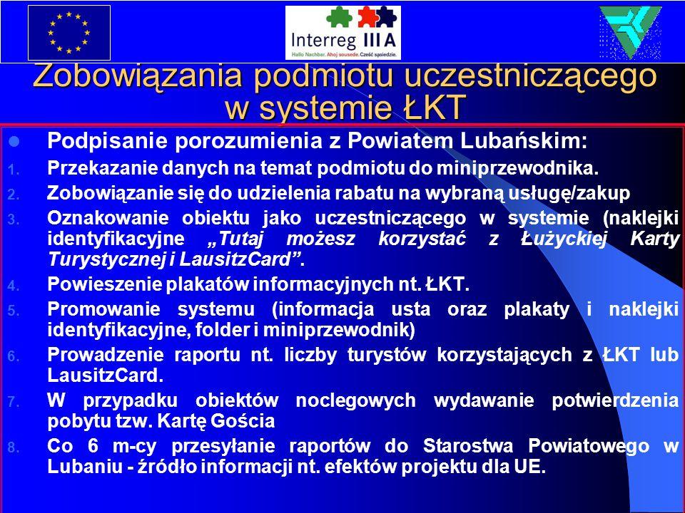 Zobowiązania podmiotu uczestniczącego w systemie ŁKT Podpisanie porozumienia z Powiatem Lubańskim: 1. Przekazanie danych na temat podmiotu do miniprze