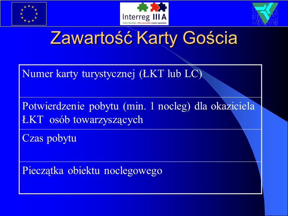 Zawartość Karty Gościa Numer karty turystycznej (ŁKT lub LC) Potwierdzenie pobytu (min.