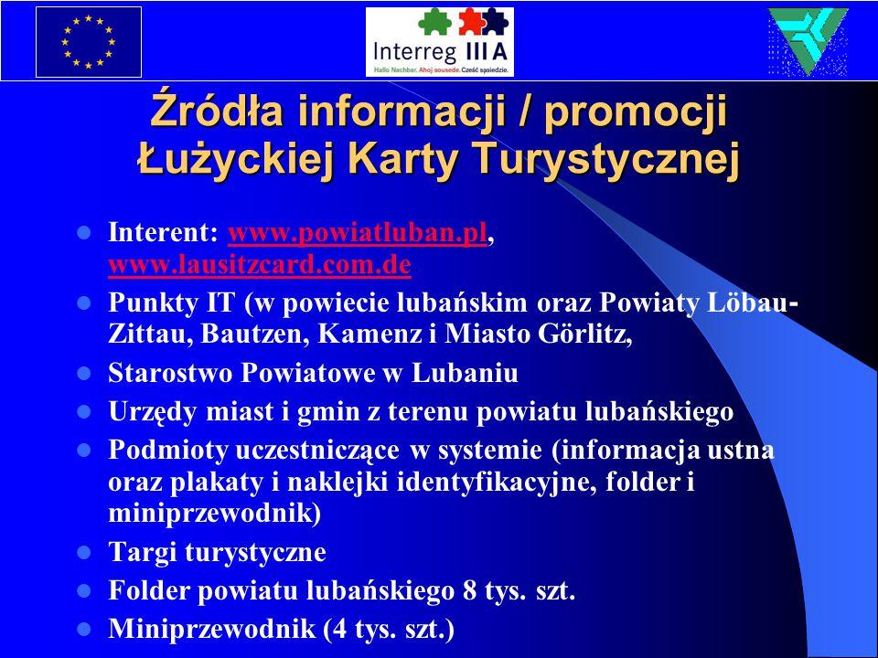 Źródła informacji / promocji Łużyckiej Karty Turystycznej Interent: www.powiatluban.pl, www.lausitzcard.com.dewww.powiatluban.pl www.lausitzcard.com.d
