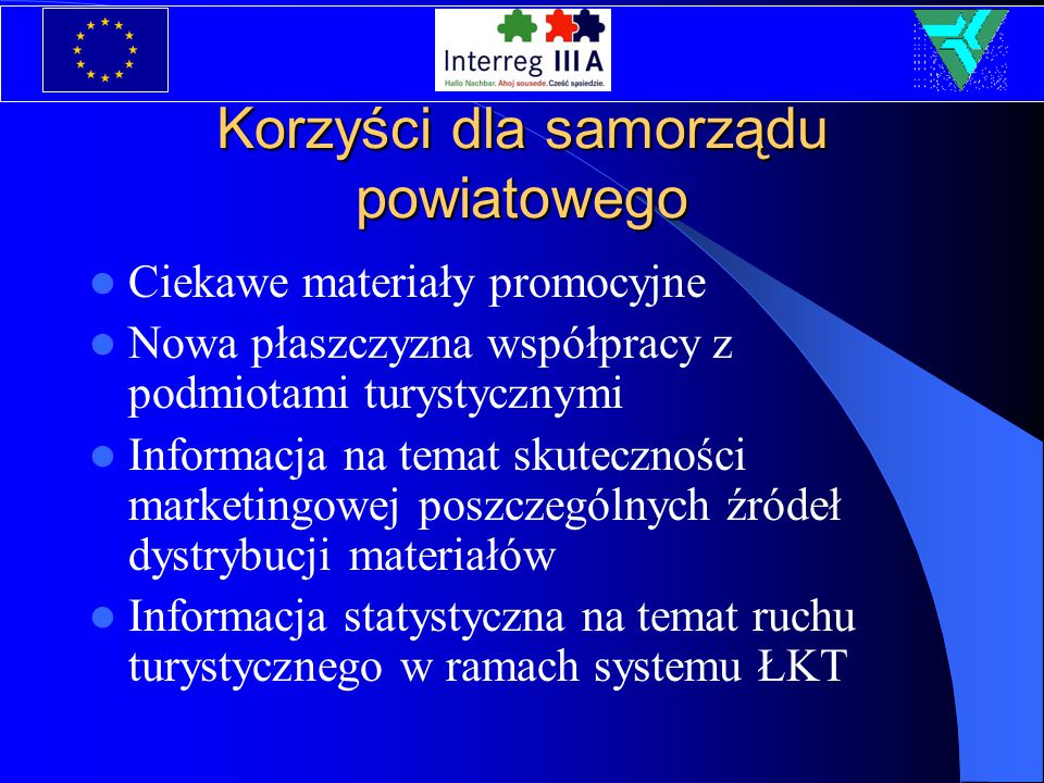 Korzyści dla samorządu powiatowego Ciekawe materiały promocyjne Nowa płaszczyzna współpracy z podmiotami turystycznymi Informacja na temat skuteczności marketingowej poszczególnych źródeł dystrybucji materiałów Informacja statystyczna na temat ruchu turystycznego w ramach systemu ŁKT