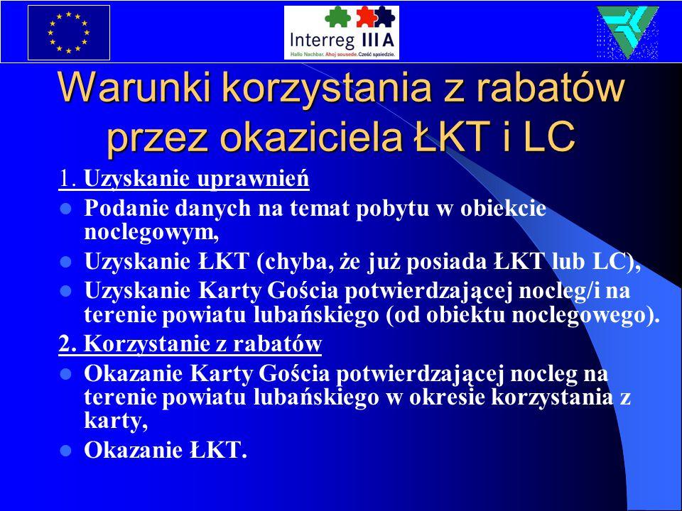 Warunki korzystania z rabatów przez okaziciela ŁKT i LC 1. Uzyskanie uprawnień Podanie danych na temat pobytu w obiekcie noclegowym, Uzyskanie ŁKT (ch