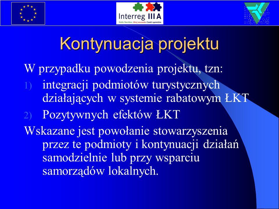 Kontynuacja projektu W przypadku powodzenia projektu, tzn: 1) integracji podmiotów turystycznych działających w systemie rabatowym ŁKT 2) Pozytywnych