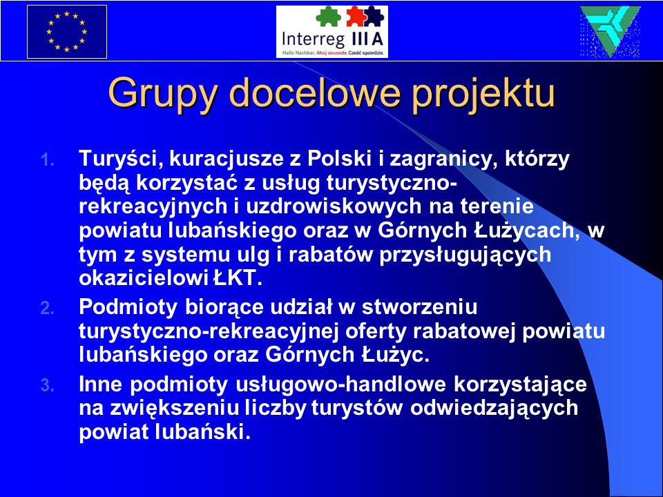Grupy docelowe projektu 1. Turyści, kuracjusze z Polski i zagranicy, którzy będą korzystać z usług turystyczno- rekreacyjnych i uzdrowiskowych na tere